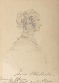 Dowager Queen Adelaide. This drawing was created while she was living at Witley Court. Her time at the Court was from 1843 to 1846.
