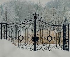 What lies beyond the gates? Are the gates keeping someone in or keeping someone out? What would happen if the person breached the gates? Do the gates hide anything? Wrought Iron Gates, Fence Gate, Fencing, Iron Work, Garden Gates, Balcony Garden, Winter Scenes, Winter Time, Winter Snow