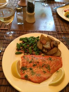 What a seasonal treat ... Fresh Copper River Alaskan Sockeye Salmon grilled with a Butter/Dijon Mustard Baste and then topped with fresh Dill from our garden ... Fried Yukon Gold Potatoes and Green Beans with sautéed Almonds ... And of course ... A nice glass of Chardonnay ... Very simple but Life is Good ... Thank you God!!!!!