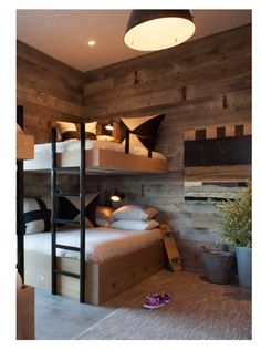 Stacked: 14 Bunk Rooms that Celebrate Form and Function Stacked: Bunk Rooms that Celebrate Form and Function. One of our favorite takes is the chic and modern room by KEN LINSTEADT ARCHITECTS (above), which could comfortably accommodate occupants of any a Bedroom Furnishings, Loft Spaces, Modern Room, Dream Rooms, House, Interior Design, Home Decor, Bunk Bed Rooms