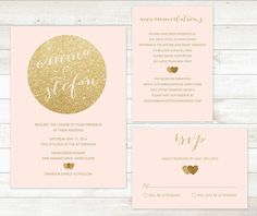 pink and gold wedding invitation set by pinkdahliaprintable