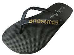 Bridesmaid Flip Flops Wedding Bling Gift Shower Bridal Bride Glitter Satin Flip Flops Gold Black Beach Shoes *** You can get more details by clicking on the image.