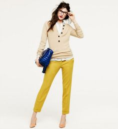 Mustard Peach Nude White Royal Blue Outfit