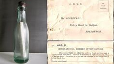 """OLDEST recovered """"message in a bottle"""" - Sailing the vessel """"Copious,"""" skipper Andrew Leaper, 43, discovered the bottle floating east of the Shetland Islands off the northern coast of Scotland. It was set adrift more than 98 years ago in June 1914 by Capt. CH Brown of the Glasgow School of Navigation, the BBC reported."""