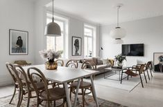 A 93 sqm open plan with a minimal light blue kitchen and neutral furniture Living Room Interior, Decor, Interior Design, Furniture, Apartment Decor, Living Decor, Distressed Furniture, Neutral Furniture, Light Blue Kitchens