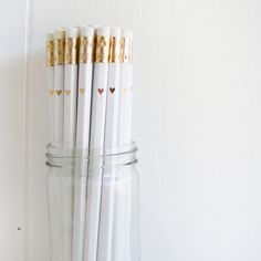 Hey, I found this really awesome Etsy listing at http://www.etsy.com/listing/160170951/white-pencils-with-gold-foil-petite
