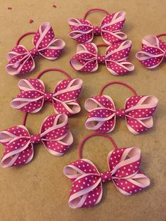 In the making at dreambows - Pink polka dot design ribbon hair bows on thin…