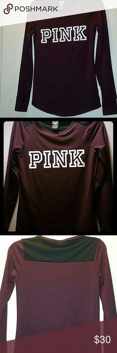 PINK Victoria's Secret Excellent condition like new burgundy Pink Victoria's Secret long sleeve. Has thumb holes in sleeves and stretchy 88% polyester size small. PINK Victoria's Secret Tops Tees - Long Sleeve