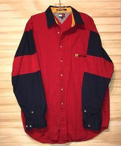 Vintage 90's Tommy Hilfiger Button Up Shirt Color Block Sz L Huge Logo H #TommyHilfiger #ButtonFront
