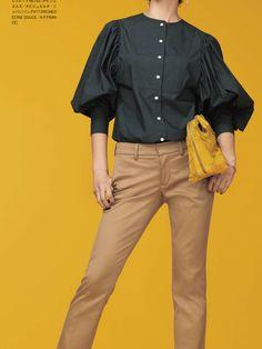 Japan Fashion, Boho Fashion, Womens Fashion, Trendy Tops, Work Attire, Casual Chic, Shirt Blouses, Blouse Designs, Casual Shirts