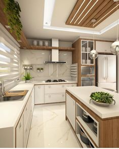 Cozinha lindíssima by Ana Marangoni (… Hello domingo! ✌☘ Cozinha lindíssima by Ana Marangoni ( Source [New] The 10 Best Home Decor (with Pictures) - Hello domingo! Cozinha lindíssima by Ana Marangoni ( What I call the kitchen is completely and c Kitchen Ceiling Design, Kitchen Room Design, Luxury Kitchen Design, Contemporary Kitchen Design, Kitchen Cabinet Design, Home Decor Kitchen, Interior Design Kitchen, Home Kitchens, Diy Kitchen