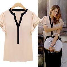 NEW Women'S Summer Chiffon Ruffle Short Sleeve V Neck Tops Blouse TEE T Shirt SU | eBay