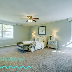 Vacant home staging with headboard, bedding, black and white photo, nightstands, bench, and lamps. Nightstands, Home Staging, Lamps, Bedding, Bench, Black And White, House, Lightbulbs, Black N White