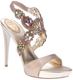 Rene Caovilla Gem Embellished Sandal in Pink (rose) Pretty Shoes, Beautiful Shoes, Cute Shoes, Me Too Shoes, Dream Shoes, Crazy Shoes, Bridal Shoes, Wedding Shoes, Rene Caovilla