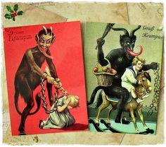 Krampus Postcards | Krampus Christmas Sinister Postcard Pair by BedlamSupplyCo