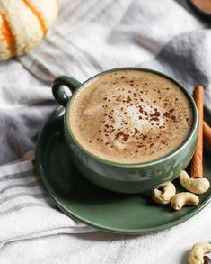 This Cashew Pumpkin Spice Latte is thick and creamy! It's made with cashews, extra strong coffee (or espresso!), pumpkin spice, and real pumpkin. Vegan, paleo, and with no added sugars, it's the perfect seasonal pick-me-up.
