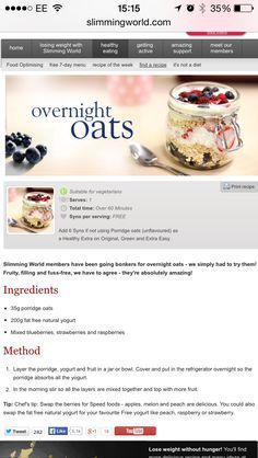 Slimming world over night oats, super easy to make and so yummy! - Slimming world over night oats, super easy to make and so yummy! Aldi Slimming World, Slimming World Cake, Slimming World Desserts, Slimming World Breakfast, Slimming World Recipes Syn Free, Slimming Eats, Slimming World Overnight Oats, Syn Free Food, Sw Meals