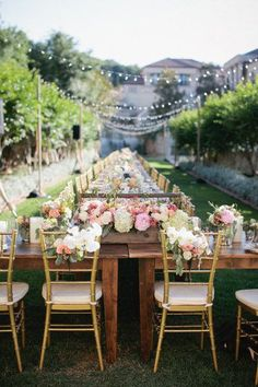 Reception table ideas, love the long tables with Bride, Groom and Bridal party at the head