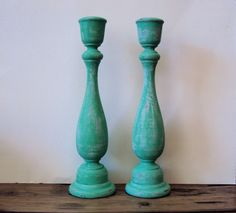 Bohemian Distressed Candlesticks - Tall Teal Turquoise Candle Holders - Wooden Gypsy Candle Sticks - Colorful Boho Decor - Neon Blue Green on Etsy, $38.00
