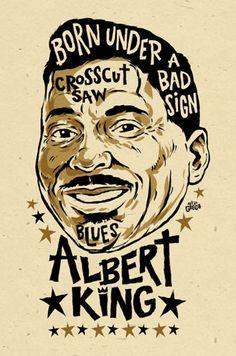 Albert King Poster signed by Grego digital blues folk art Rhythm And Blues, Jazz Blues, Blues Music, Vintage Concert Posters, Vintage Posters, Music Posters, Band Posters, Jazz Music, Folk Music