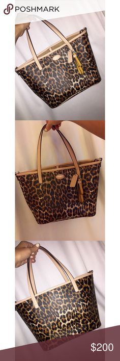 Coach Brown Leopard Print Coated Metro Ocelot Tote Beautiful never been used Tote/Cross body Coach Bag! Exterior/Interior: Coated Canvas. Length: 35cm Width: 15cm Height: 30.5cm Handle Drop: 20.5cm Hardware: Silver tone. Two inside open side pockets. One inside pocket with zipper. Amazing condition! Coach Bags Totes