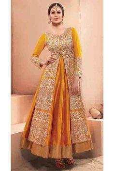 Modish Yellow Silk, Net Lehenga Salwar Kameez
