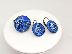 earring and ring Set Polymer clay Ring und Ohrringe Millefleur von polymerdesign