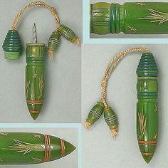 Antique Bakelite Tasseled Needle Case English Circa 1900s.