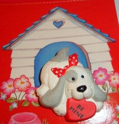 VINTAGE HALLMARK CONVERSATION HEART PUPPY VALENTINE LAPEL PIN BROOCH - NEW