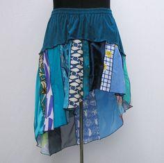 Blue skirt, plus size skirt, upcycled skirt, patchwork skirt, deconstructed skirt, refashioned skirt, 1x 2x 3x 4x 5x, boho festival skirt by Rethreading on Etsy