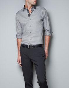 SHIRT WITH CONTRASTING CUFFS - Shirts - Man - ZARA United States