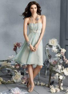 """Sheath Strapless Tea Length Chiffon Bridesmaid Dresses for Brides""    ....... with straps??"