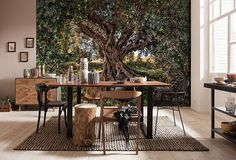 Bring the beauty of nature into your home with this stunning tree wall mural. This majestic olive tree provides shade in the middle of a entrenched Tuscan field. Thick branches fan out, perfect for climbing, reading, or napping. Textured Wallpaper, Wallpaper Roll, Photo Wallpaper, Tree Wall Murals, Wall Art, Wall Decor, Mediterranean Home Decor, Tuscan Decorating, Outdoor Furniture Sets