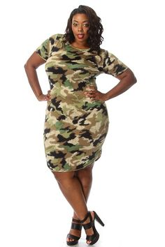 Plus Size Camo Printed Shirtdress