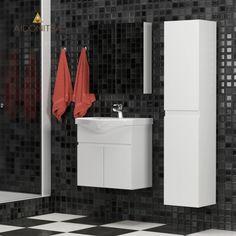 Σετ Μπάνιου, Brian,Κρεμαστό έπιπλο με δύο πόρτες με νιπτήρα 65*45*62, Καθρέπτη Ντουλάπι 62*14*65 (Δύο Πόρτες) Και Κρεμαστή Στήλη 35*30*160, Χρώμα Λευκό Από την Alphab2b.gr Vanity, Bathroom, Dressing Tables, Washroom, Powder Room, Vanity Set, Full Bath, Single Vanities, Bath