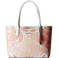 Calvin Klein Saffiano Tote (Peach Combo Floral) Tote Handbags (320 BAM) ❤ liked on Polyvore featuring bags, handbags, tote bags, saffiano leather tote, tote purse, floral handbags, perforated tote bag and white tote