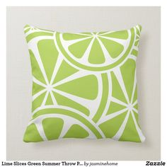 Shop Lime Slices Green Summer Throw Pillow created by jasminehome. Custom Pillows, Decorative Throw Pillows, Christmas Pillow Covers, Green Pillows, Lounge Decor, Free Sewing, Throw Pillow Covers, Lime, Summer Bbq