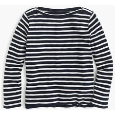 J.Crew Midweight striped boatneck T-shirt ($45) ❤ liked on Polyvore featuring tops, t-shirts, striped boatneck top, boat neck t shirt, boatneck tee, j crew tee and stripe t shirt