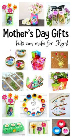 Over 20 Mother's Day Homemade Gifts: Gorgeous DIY projects for kids to make mom- including handprint crafts, necklace crafts, gifts made from egg cartons and more! Make wonderful keepsakes!