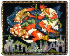 Aleksey Zhiryakov, Palekh lacquer box, Clowns, 2001.