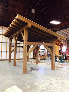 A reminder, post and beam doesn't have to be sunk into the ground.Timber frame shed by Heritage Fabrication Inc. Wooden Pergola, Outdoor Pergola, Pergola Plans, Outdoor Rooms, Backyard Patio, Pergola Kits, Carport Kits, Pergola Roof, Cheap Pergola