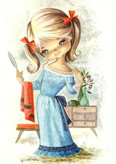 Sweet Big Eyed Girl, Vintage postcard from the 70s | por PrettyPostcards