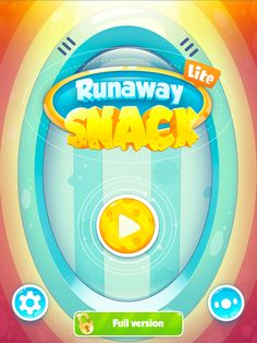Runaway Snack title screen. One big play button, small settings and other buttons