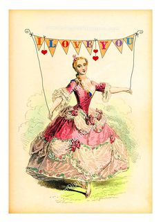 I Love You bunting flags collage sheet with gorgeous vintage Lady