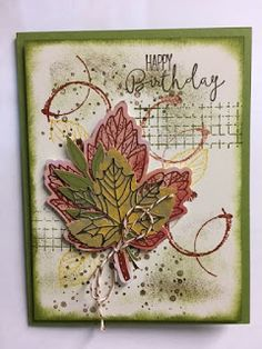 Here's another alternative card I made with the September 2017 Paper Pumpkin kit.  I just LOVE the leaves but don't have a need for the p...