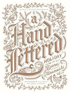 """""""12 Days of Christmas""""-themed poster designed by Dana Tanamachi and printed by Mama's Sauce, celebrating her Orlando lecture in 2014. Bronze ink on cream paper, 18""""x24"""". 
