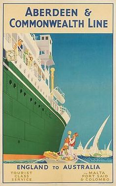 Vintage Aberdeen Commonwealth Line Ships To Australia Poster A3 Print
