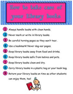 Book Care Rules Poster - Library Media Center by Brandy Rinke Classroom Library Rules, Class Library, Library Skills, Elementary Library, Library Lessons, Classroom Ideas, Library Posters, Library Books, Library Ideas