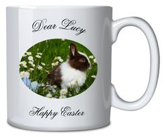 Personalised Mug Bunny Rabbit Sublimation Mugs, Personalized Mugs, Everyday Objects, Bunny Rabbit, Happy Easter, Vibrant Colors, How To Make, Happy Easter Day, Personalized Cups