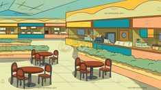 Food Court Inside A Mall Background Food court Blue ceilings Background